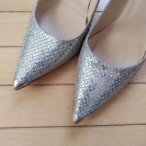Jimmy Choo Silver Glitter Abel Wedding Pump 39.5